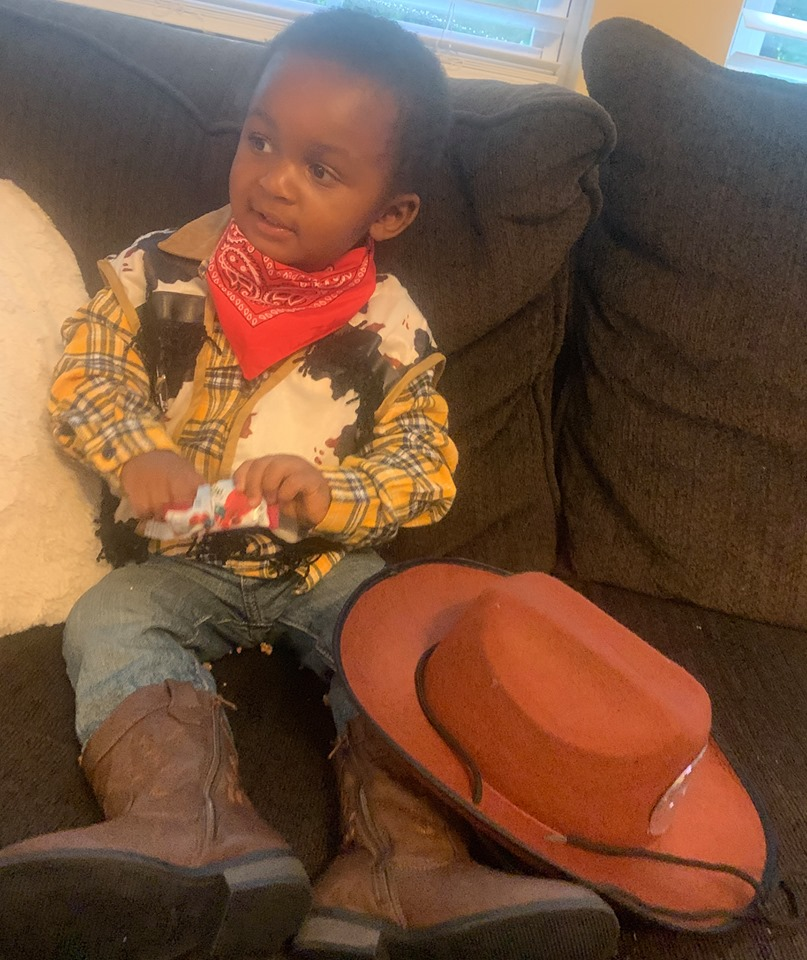 "Why I Canceled Halloween | Honeycomb Moms | Even though he didn't get to wear his Halloween costume, Donovan did get to wear his pre-Halloween costume as the ""Toy Story"" character Woody."